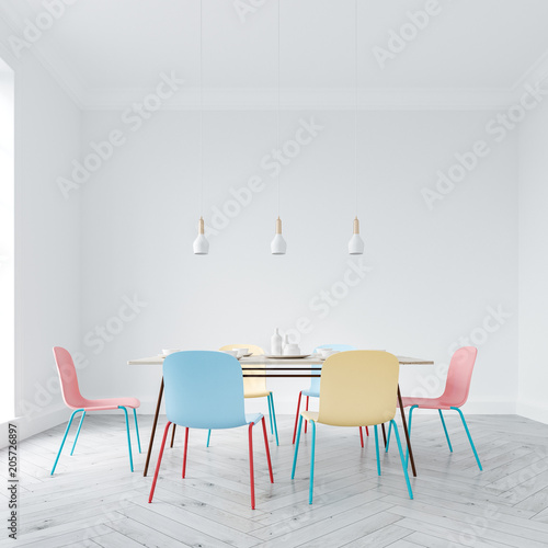 Bright chairs dining room interior - 205726897