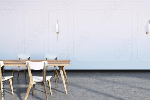 Concrete floor dining room interior © denisismagilov