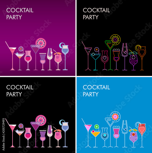 Fotobehang Abstractie Art Cocktail Party vector backgrounds