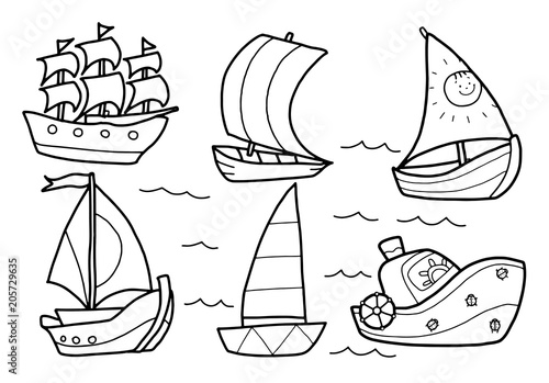 Vector. Circuit. Coloring for children. Poster. Ships, sailboats, derevall. Patterns
