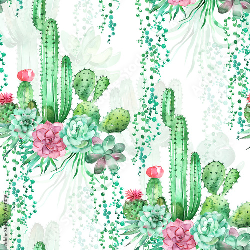 Watercolor seamless pattern background with succulents and cactus  - 205731016