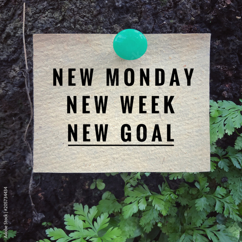 Motivational and inspirational quote - New Monday, new week, new goal. With vintage styled background.