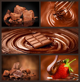 Chocolate collage set. Chocolate chunks, candies, sweets, strawberry in chocolate. Design over dark background. Various Chocolates, swirls, melted, pouring. Confectionery - 205735290