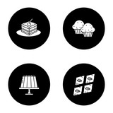 Condectionery glyph icons set