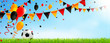 Leinwanddruck Bild - Deutschland Trikolore Girlanden, Luftballons, Konfetti und Fußball Wiese Kulisse