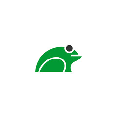 Frog logo vector, simple logo with green color.