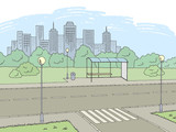 Street road graphic color city landscape sketch illustration vector - 205740825