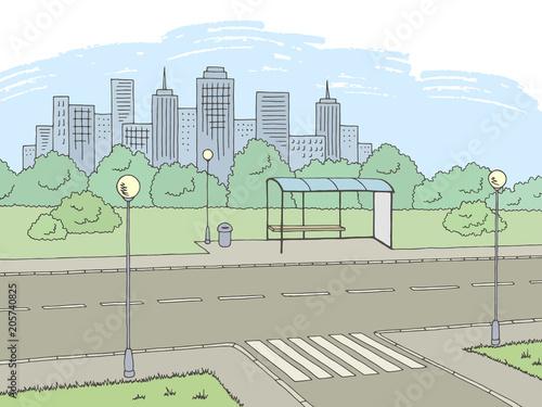 Aluminium Lichtblauw Street road graphic color city landscape sketch illustration vector