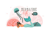 Hand drawn vector abstract cartoon graphic underwater illustrations poster with coral reefs,fish,seaweed and beauty mermaid girl character with Mermazing Life typography isolated on white background - 205741245