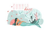 Hand drawn vector abstract cartoon graphic underwater illustrations poster with coral reefs,anchor,seaweed and beauty mermaid girl character with Summer days typography isolated on white background - 205741260