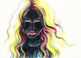 beautiful woman. fashion illustration. watercolor painting - 205741272