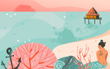 Hand drawn vector abstract cartoon summer time graphic illustrations art template background with ocean beach landscape,pink sunset and beauty girl mermaid with copy space place for your design - 205741405