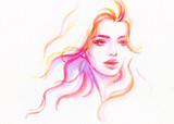 beautiful woman. fashion illustration. watercolor painting - 205741408