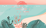 Hand drawn vector abstract cartoon summer time graphic illustrations art template banner background with ocean beach landscape,pink sunset view with copy space place for your design - 205741416