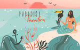 Hand drawn vector abstract cartoon summer time graphic illustrations template background with ocean beach landscape,sunset and beauty girl mermaid,toucan bird with Paradise vacation typography quote - 205741423