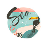 Hand drawn vector abstract cartoon summer time graphic illustrations template background badge design with ocean beach landscape,pink sunset and beauty toucan bird with Sea typography text - 205741443