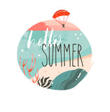 Hand drawn vector abstract cartoon summer time graphic illustrations art template background logo design with ocean beach landscape,sunset and Hello Summer typography quote - 205741453