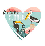 Hand drawn vector abstract cartoon summer time beach graphic illustrations template logo background in heart shape with ocean beach landscape,toucan,pelinan birds,and Welcom Summer typography text - 205741456