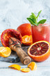 Icy juice from the blood orange and citrus press.