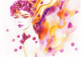 beautiful woman. fashion illustration. watercolor painting - 205742470