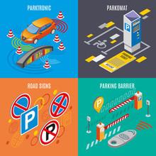 Isometric Parking Icon Set Sticker