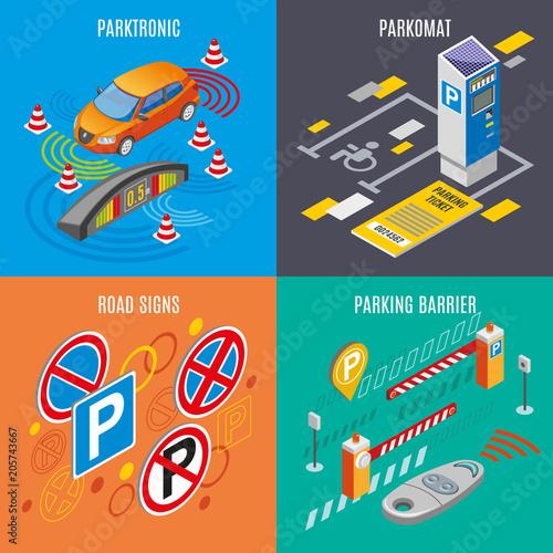Isometric Parking Icon Set - 205743667