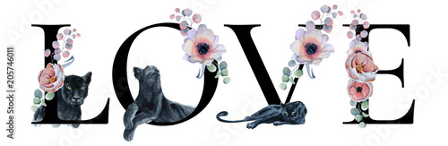 Love lettering sign watercolor word design with floral bouquets and black panthers Hand drawn typography inscription. Romantic label, greeting card, template, poster - 205746011