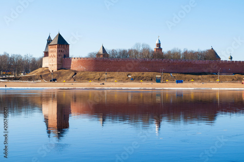 Veliky Novgorod Kremlin fortress at the bank of the Volkhov river in Veliky Novgorod, Russia