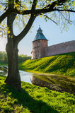 Saviour tower of Veliky Novgorod Kremlin, Russia. Architecture summer scene