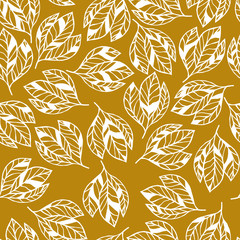 Botanical seamless vector pattern. Mustard yellow color  Leaves.