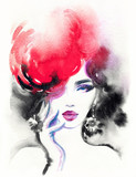 beautiful woman. fashion illustration. watercolor painting - 205749238