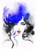 beautiful woman. fashion illustration. watercolor painting - 205749280