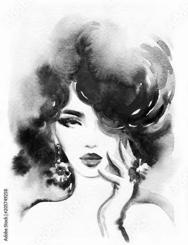 beautiful woman. fashion illustration. watercolor painting © Anna Ismagilova