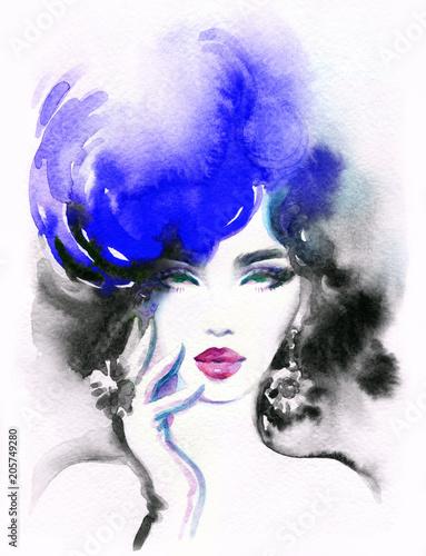 Plexiglas Anna I. beautiful woman. fashion illustration. watercolor painting
