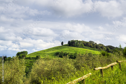 Canvas Toscane hilly Rural mountain landscape in the Italian Tuscany