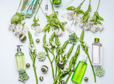 Green herbal natural cosmetic setting with bottles of facial toner, hydrophobic oil, cleansing foam, herbs and flowers on white background , top view, flat lay. Beauty and skin care concept - 205756862