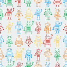 Seamless Pattern From Outline Multicolored Robots Sticker