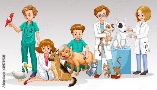 Fotobehang Kids A Vet Doctor Team on White Background