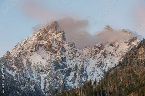 Snow Covered Tetons at Sunrise in autumn