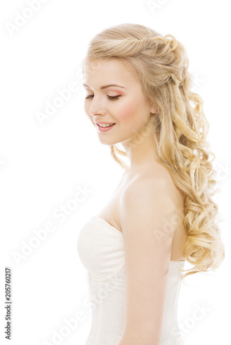 Woman Hair and Face Beauty, Fashion Model Long Blond Curly Hairstyle, Girl Isolated over White Background