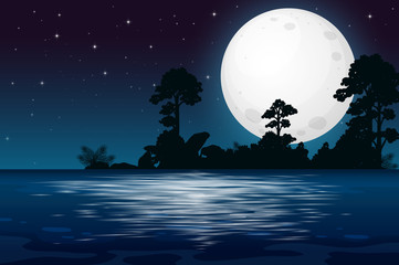 A Full Moon Night at the Lake © GraphicsRF