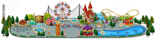 Fotobehang Kids A Fun Amusement Park Map