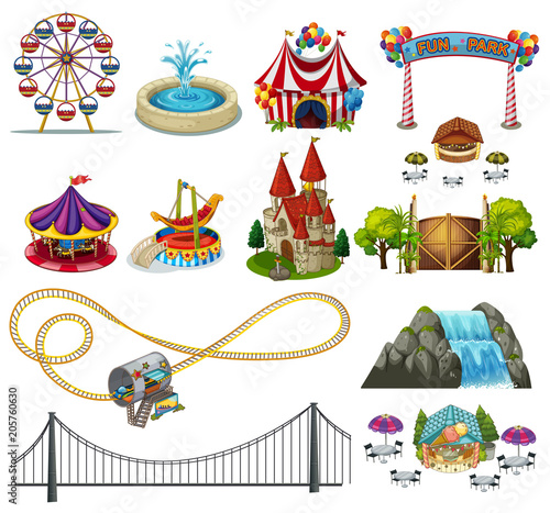 Fotobehang Kids A Set of Theme Park Element