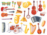 Cartoon musical instruments, guitars, bongo drums, cello, saxophone, microphone, drum kit isolated. Music instrument vector collection