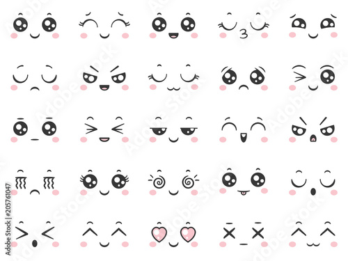 Cute doodle emoticons with facial expressions. Japanese anime style emotion faces and kawaii emoji icons vector set - 205761047