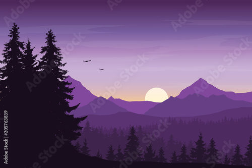 Fotobehang Snoeien Mountain landscape with forest under a purple morning sky with rising sun, birds and clouds