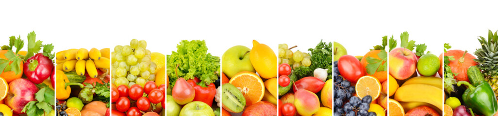 fruits and vegetables isolated on white background. Panoramic collage. Wide photo with free space for text. © alinamd