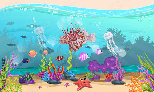 Fotobehang Turkoois beautiful underwater scenery. fish and coral reefs