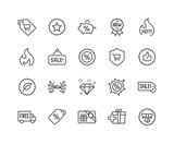 Simple Set of Shopping Features Related Vector Line Icons. Contains such Icons as New, Sale, Discount and more. Editable Stroke. 48x48 Pixel Perfect.