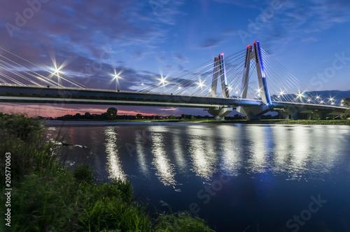 Sticker modern bridge over Vistula river, Krakow, Poland, illuminated in the night